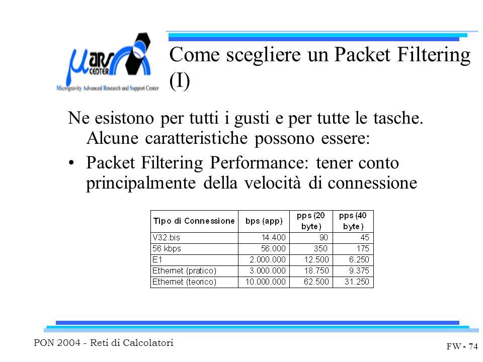 PON 2004 - Reti di Calcolatori FW - 74 Come scegliere un Packet Filtering (I) Ne esistono per tutti i gusti e per tutte le tasche.