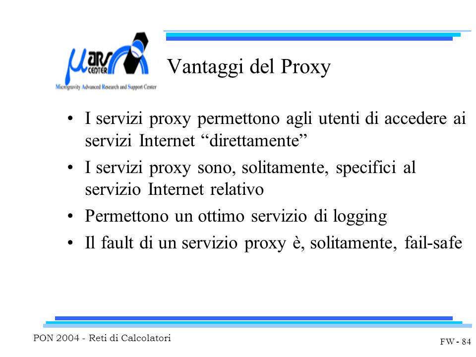 PON 2004 - Reti di Calcolatori FW - 84 Vantaggi del Proxy I servizi proxy permettono agli utenti di accedere ai servizi Internet direttamente I servizi proxy sono, solitamente, specifici al servizio Internet relativo Permettono un ottimo servizio di logging Il fault di un servizio proxy è, solitamente, fail-safe