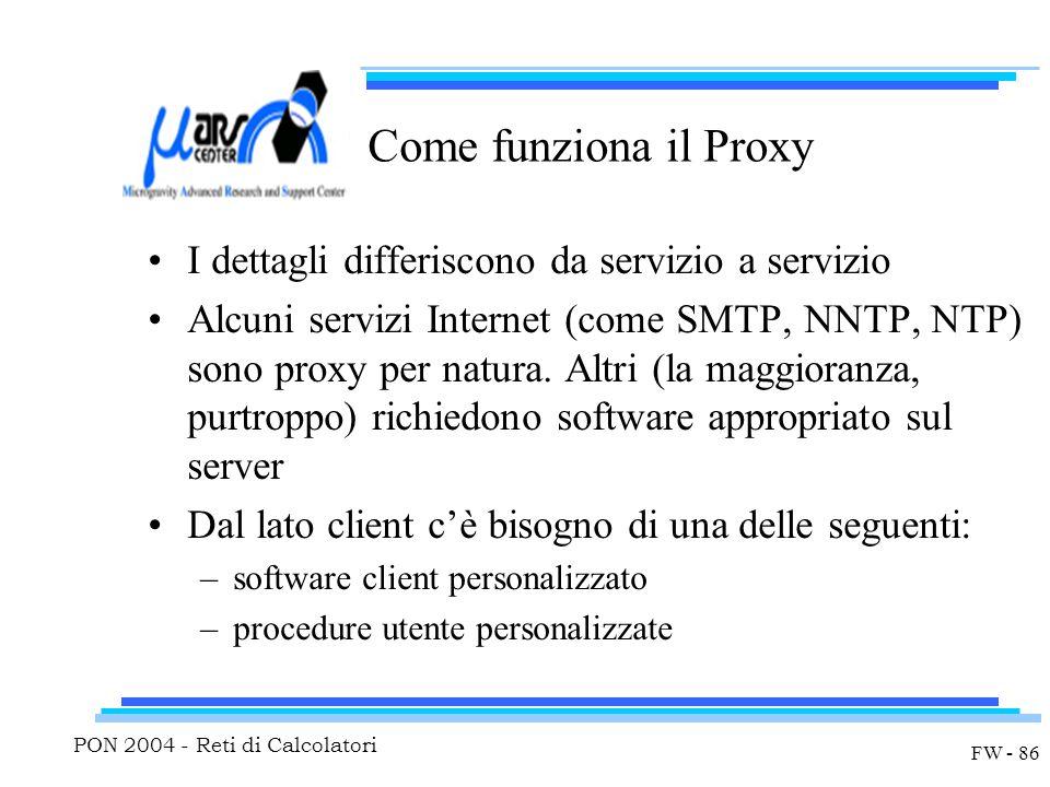PON 2004 - Reti di Calcolatori FW - 86 Come funziona il Proxy I dettagli differiscono da servizio a servizio Alcuni servizi Internet (come SMTP, NNTP, NTP) sono proxy per natura.