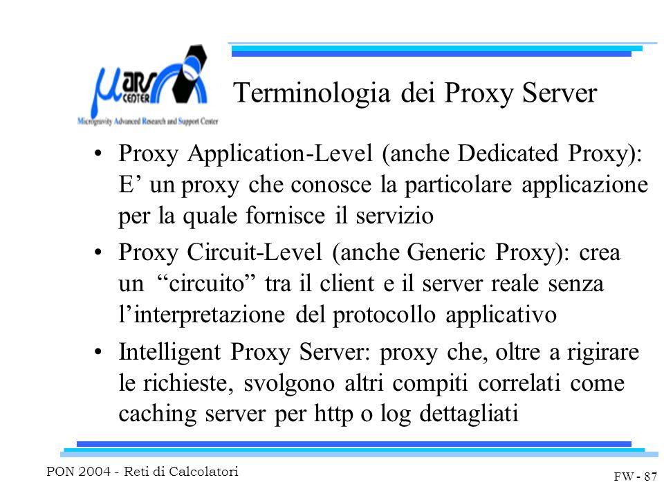 PON 2004 - Reti di Calcolatori FW - 87 Terminologia dei Proxy Server Proxy Application-Level (anche Dedicated Proxy): E' un proxy che conosce la parti