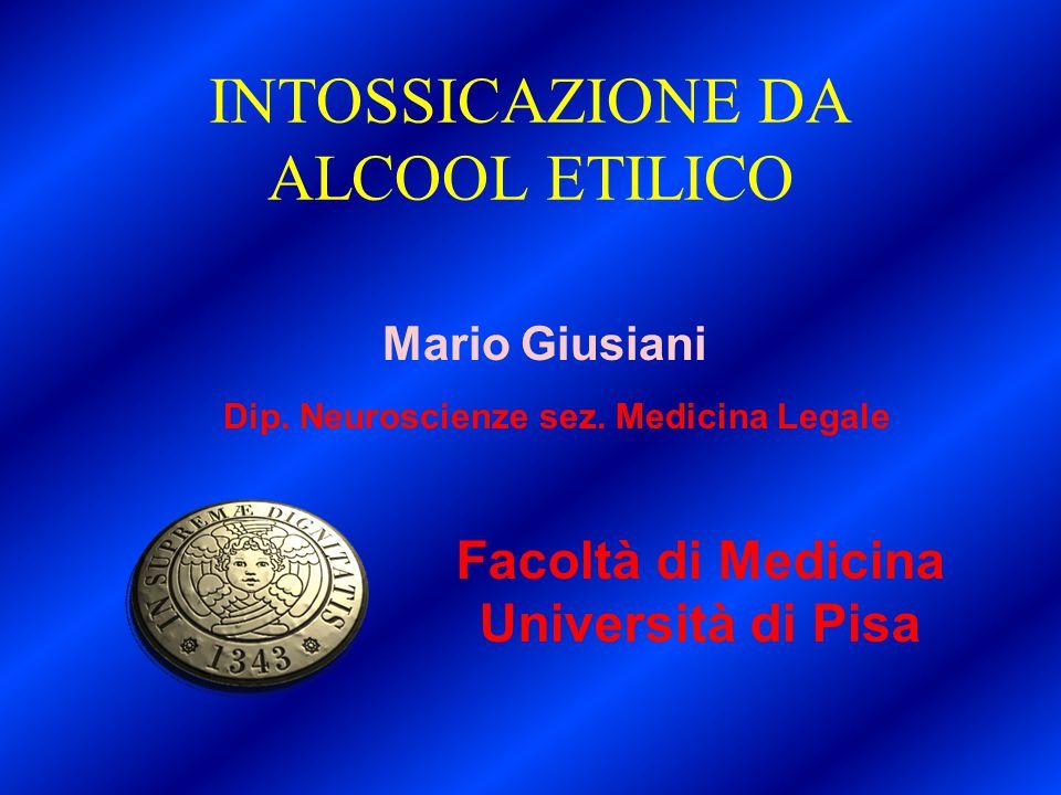 Facoltà di Medicina Università di Pisa Mario Giusiani Dip. Neuroscienze sez. Medicina Legale INTOSSICAZIONE DA ALCOOL ETILICO