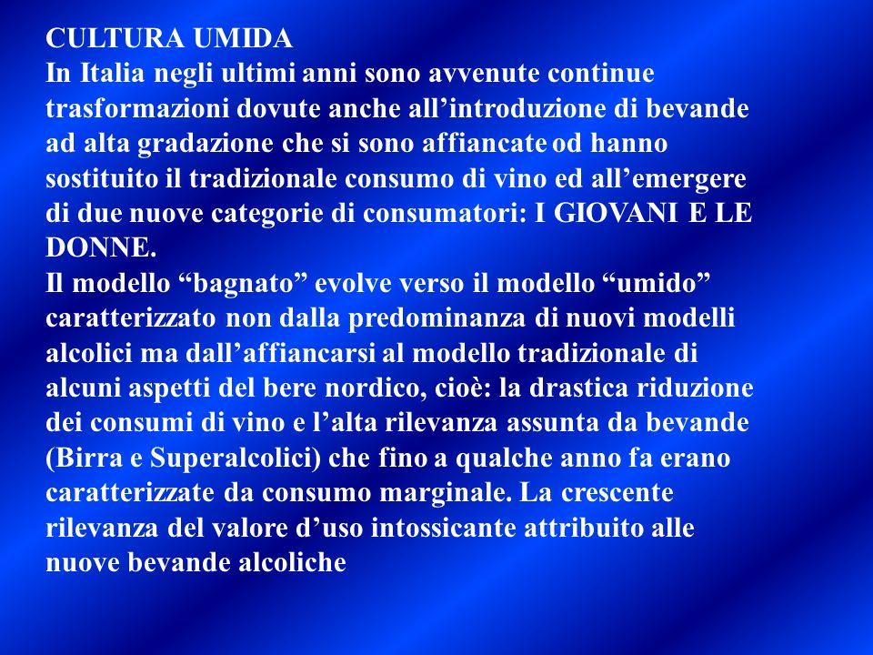 CULTURA UMIDA In Italia negli ultimi anni sono avvenute continue trasformazioni dovute anche all'introduzione di bevande ad alta gradazione che si son