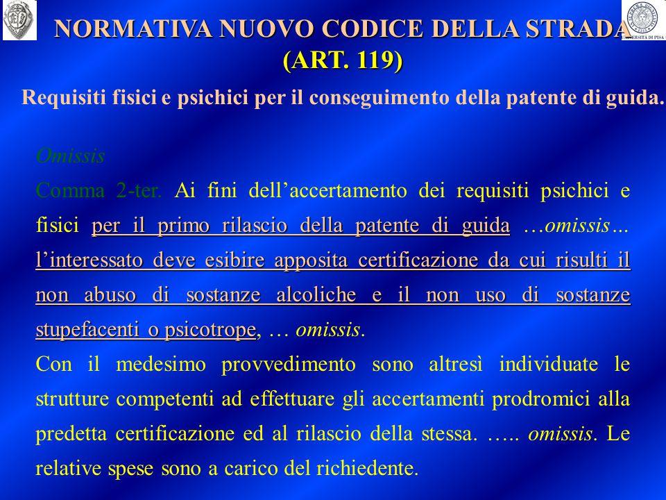 NORMATIVA NUOVO CODICE DELLA STRADA (ART. 119) Requisiti fisici e psichici per il conseguimento della patente di guida. Omissis per il primo rilascio
