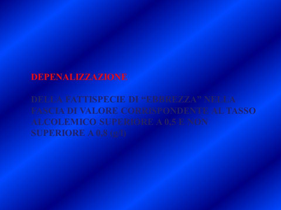 """DEPENALIZZAZIONE DELLA FATTISPECIE DI """"EBBREZZA"""" NELLA FASCIA DI VALORE CORRISPONDENTE AL TASSO ALCOLEMICO SUPERIORE A 0,5 E NON SUPERIORE A 0,8 (g/l)"""