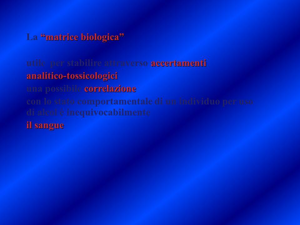 """""""matrice biologica"""" La """"matrice biologica"""" accertamenti utile per stabilire attraverso accertamentianalitico-tossicologici correlazione una possibile"""