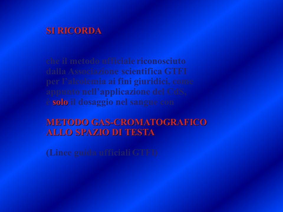 SI RICORDA che il metodo ufficiale riconosciuto dalla Associazione scientifica GTFI per l'alcolemia ai fini giuridici, come appunto nell'applicazione