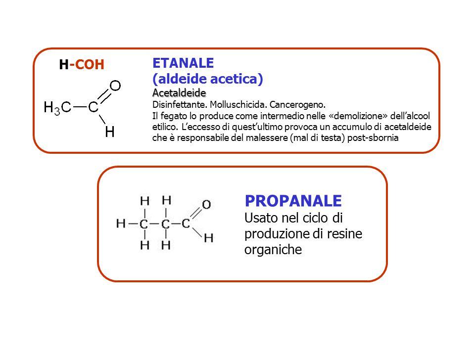 H-COH ETANALE (aldeide acetica)Acetaldeide Disinfettante. Molluschicida. Cancerogeno. Il fegato lo produce come intermedio nelle «demolizione» dell'al