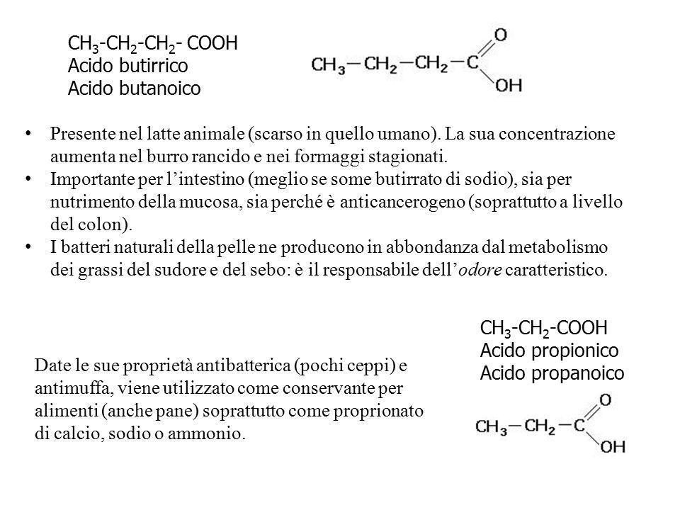 CH 3 -CH 2 -COOH Acido propionico Acido propanoico CH 3 -CH 2 -CH 2 - COOH Acido butirrico Acido butanoico Presente nel latte animale (scarso in quell