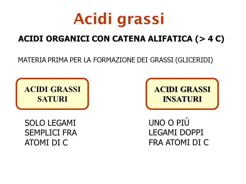 Acidi grassi ACIDI ORGANICI CON CATENA ALIFATICA (> 4 C) MATERIA PRIMA PER LA FORMAZIONE DEI GRASSI (GLICERIDI) ACIDI GRASSI SATURI ACIDI GRASSI INSAT