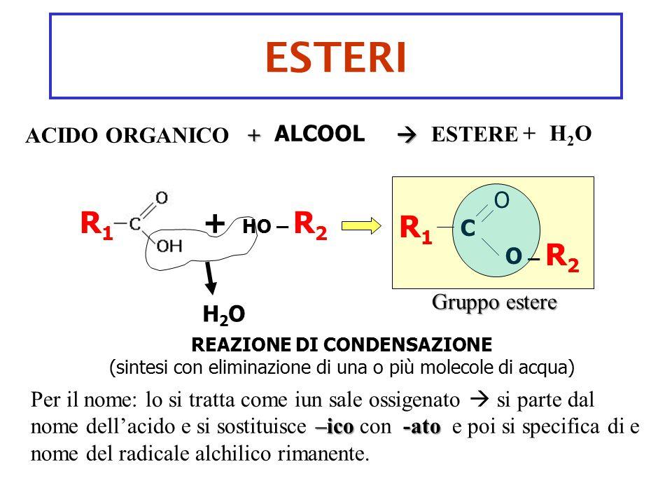 ESTERI ALCOOL REAZIONE DI CONDENSAZIONE (sintesi con eliminazione di una o più molecole di acqua) + HO – R 2 R1R1 H2OH2O R1R1 C O O – R 2 +ACIDO ORGAN