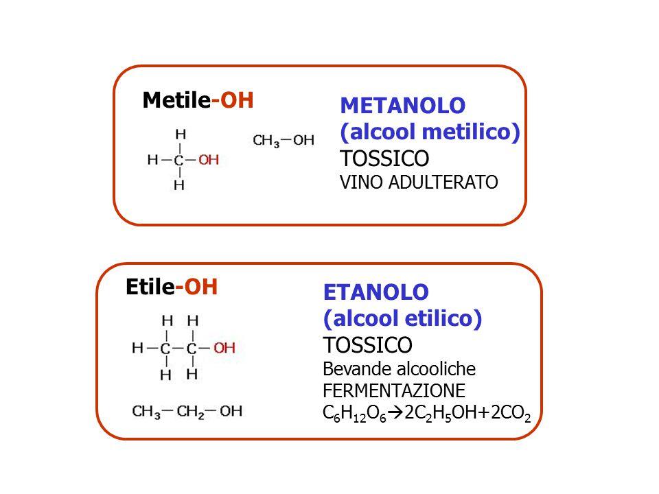 Metile-OH METANOLO (alcool metilico) TOSSICO VINO ADULTERATO Etile-OH ETANOLO (alcool etilico) TOSSICO Bevande alcooliche FERMENTAZIONE C 6 H 12 O 6 