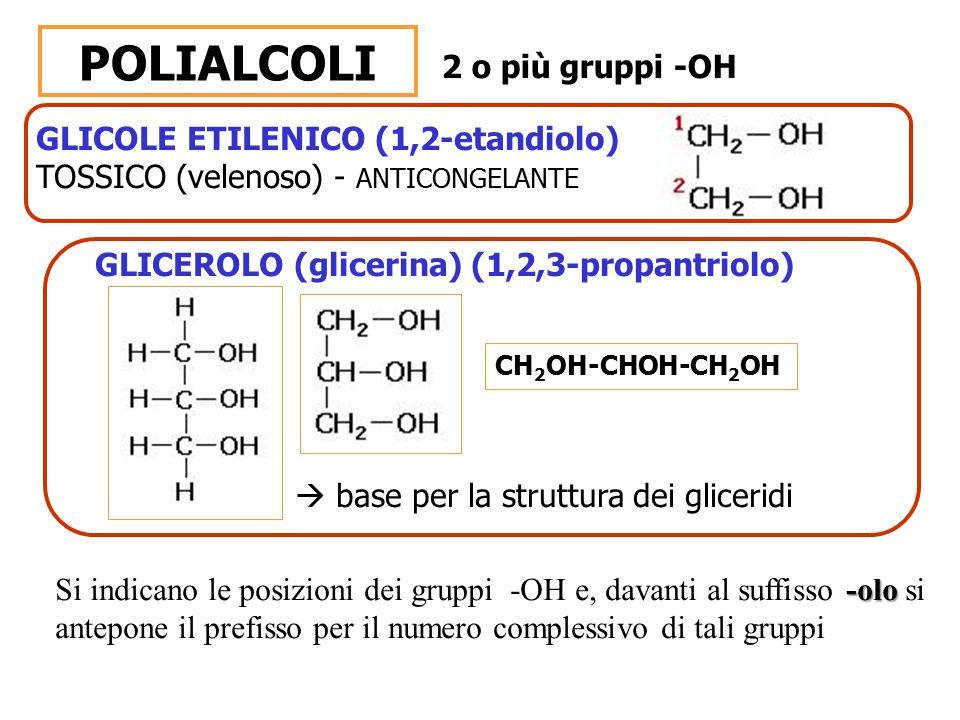 GLICOLE ETILENICO (1,2-etandiolo) TOSSICO (velenoso) - ANTICONGELANTE POLIALCOLI 2 o più gruppi -OH GLICEROLO (glicerina) (1,2,3-propantriolo)  base
