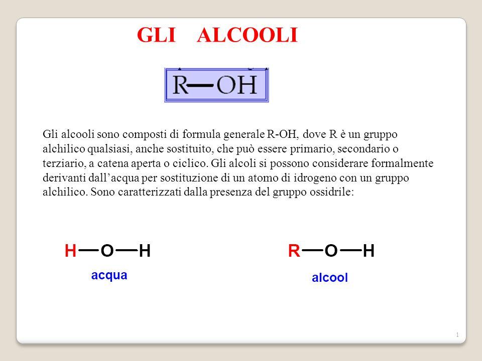 1 GLI ALCOOLI Gli alcooli sono composti di formula generale R-OH, dove R è un gruppo alchilico qualsiasi, anche sostituito, che può essere primario, s