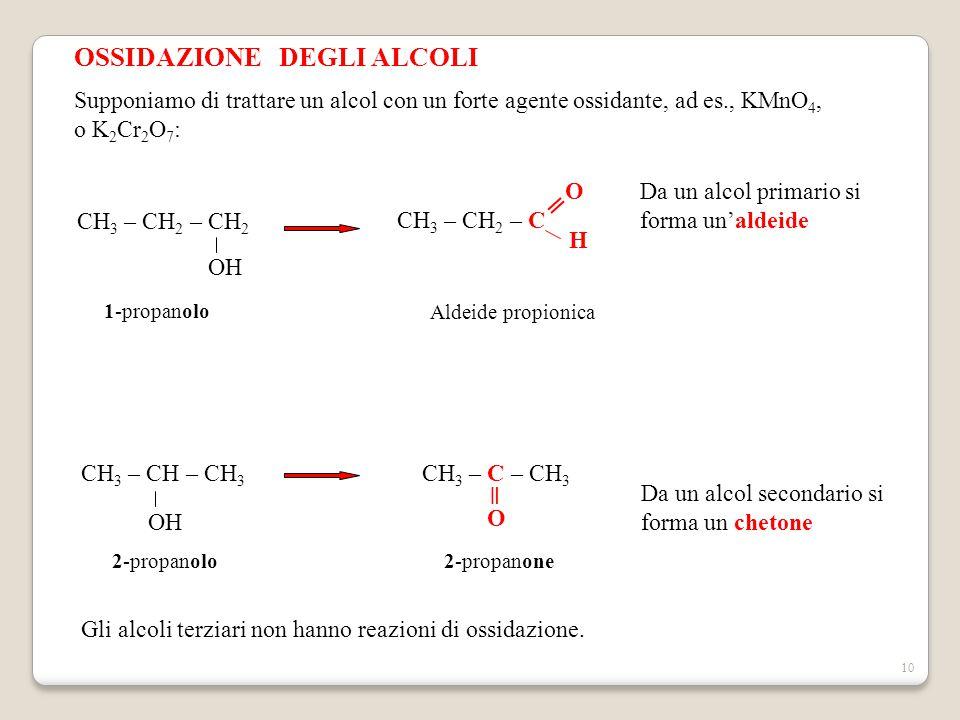 10 OSSIDAZIONE DEGLI ALCOLI Supponiamo di trattare un alcol con un forte agente ossidante, ad es., KMnO 4, o K 2 Cr 2 O 7 : CH 3 – CH – CH 3 OH CH 3 –