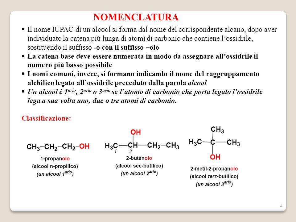 4 NOMENCLATURA  Il nome IUPAC di un alcool si forma dal nome del corrispondente alcano, dopo aver individuato la catena più lunga di atomi di carboni
