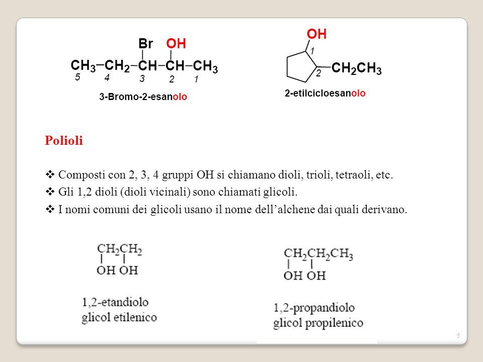 5 Polioli  Composti con 2, 3, 4 gruppi OH si chiamano dioli, trioli, tetraoli, etc.  Gli 1,2 dioli (dioli vicinali) sono chiamati glicoli.  I nomi