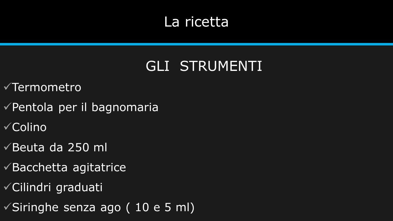 La ricetta Termometro Pentola per il bagnomaria Colino Beuta da 250 ml Bacchetta agitatrice Cilindri graduati Siringhe senza ago ( 10 e 5 ml) GLI STRU