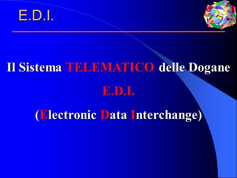 Il Sistema TELEMATICO delle Dogane E.D.I. (Electronic Data Interchange) E.D.I.