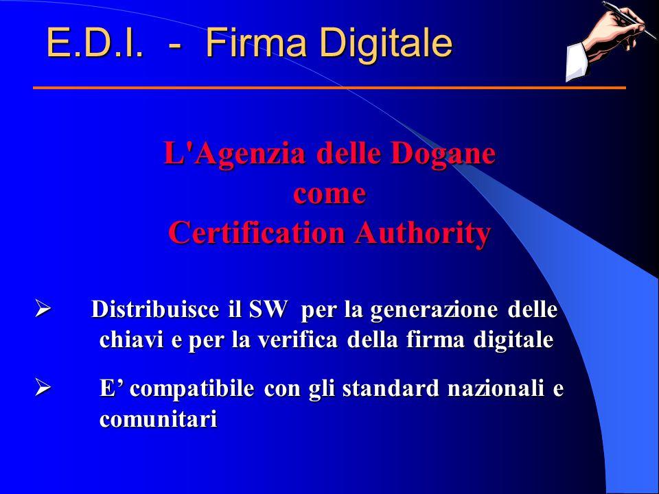 L Agenzia delle Dogane come Certification Authority  Distribuisce il SW per la generazione delle chiavi e per la verifica della firma digitale  E' compatibile con gli standard nazionali e comunitari E.D.I.