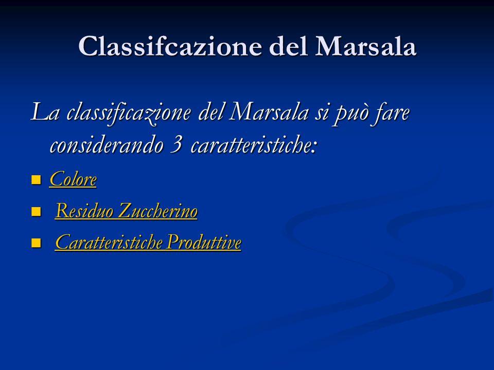 Classificazione in base al colore Per Colore i Marsala si distinguono in: Per Colore i Marsala si distinguono in:Colore oro, prodotto da uve a bacca bianca, è vietata l'aggiunta di mosto cotto.