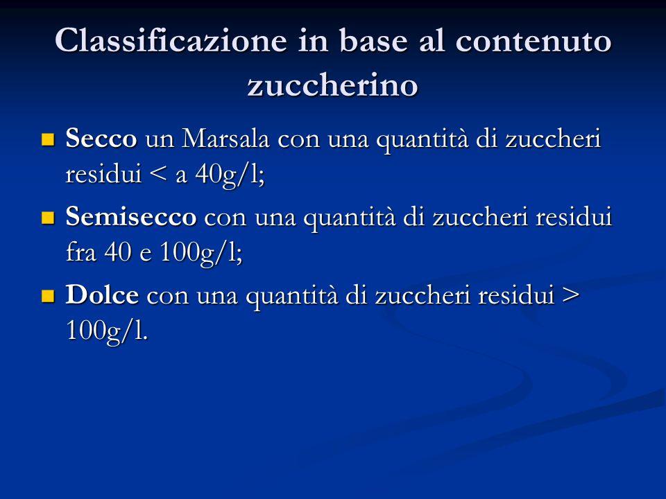 Classificazione in base al contenuto zuccherino Secco un Marsala con una quantità di zuccheri residui < a 40g/l; Secco un Marsala con una quantità di