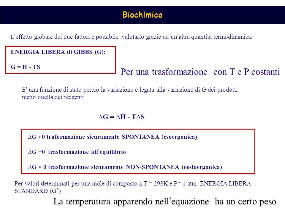 Biochimica L ' effetto globale dei due fattori è possibile valutarlo grazie ad un ' altra quantità termodinamica: ENERGIA LIBERA di GIBBS (G): G = H -