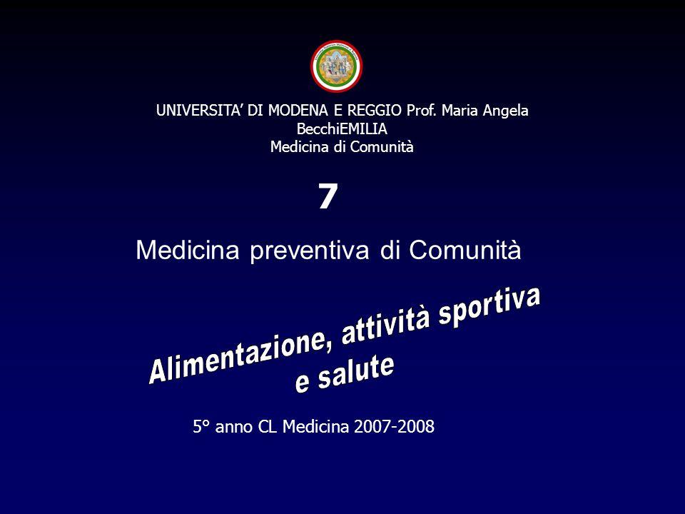 5° anno CL Medicina 2007-2008 7 UNIVERSITA' DI MODENA E REGGIO Prof. Maria Angela BecchiEMILIA Medicina di Comunità Medicina preventiva di Comunità