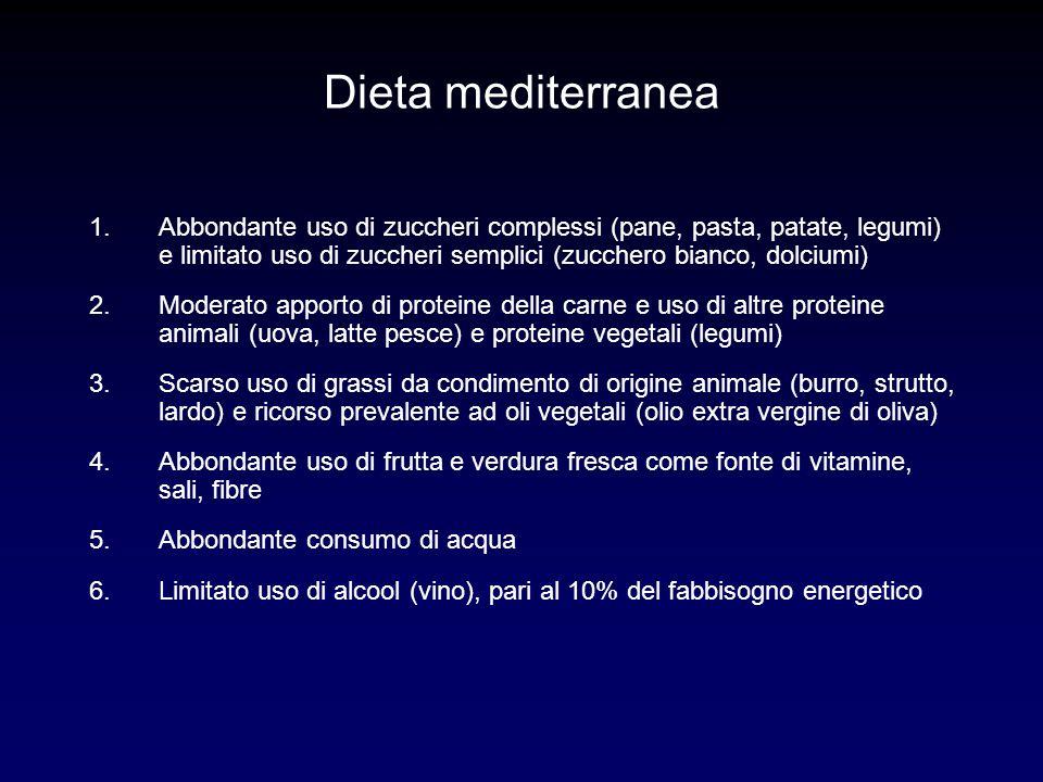 Dieta mediterranea 1.Abbondante uso di zuccheri complessi (pane, pasta, patate, legumi) e limitato uso di zuccheri semplici (zucchero bianco, dolciumi