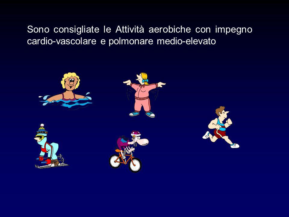 Sono consigliate le Attività aerobiche con impegno cardio-vascolare e polmonare medio-elevato