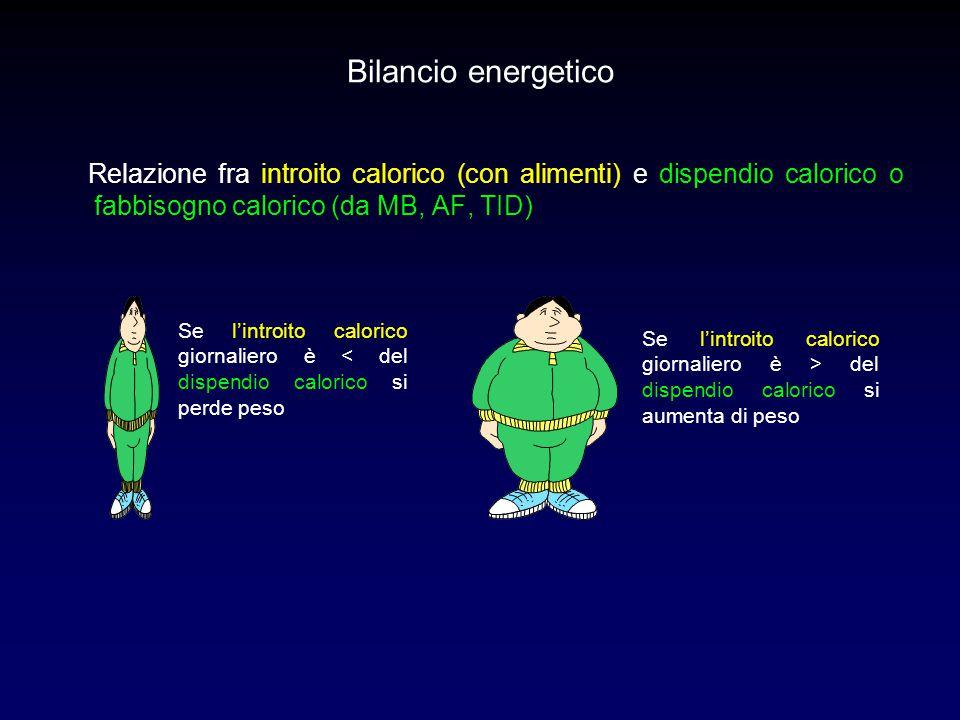 Bilancio energetico Relazione fra introito calorico (con alimenti) e dispendio calorico o fabbisogno calorico (da MB, AF, TID) Se l'introito calorico