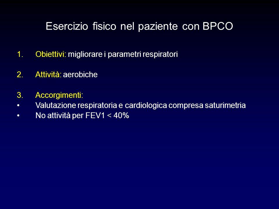 Esercizio fisico nel paziente con BPCO 1.Obiettivi: migliorare i parametri respiratori 2.Attività: aerobiche 3.Accorgimenti: Valutazione respiratoria