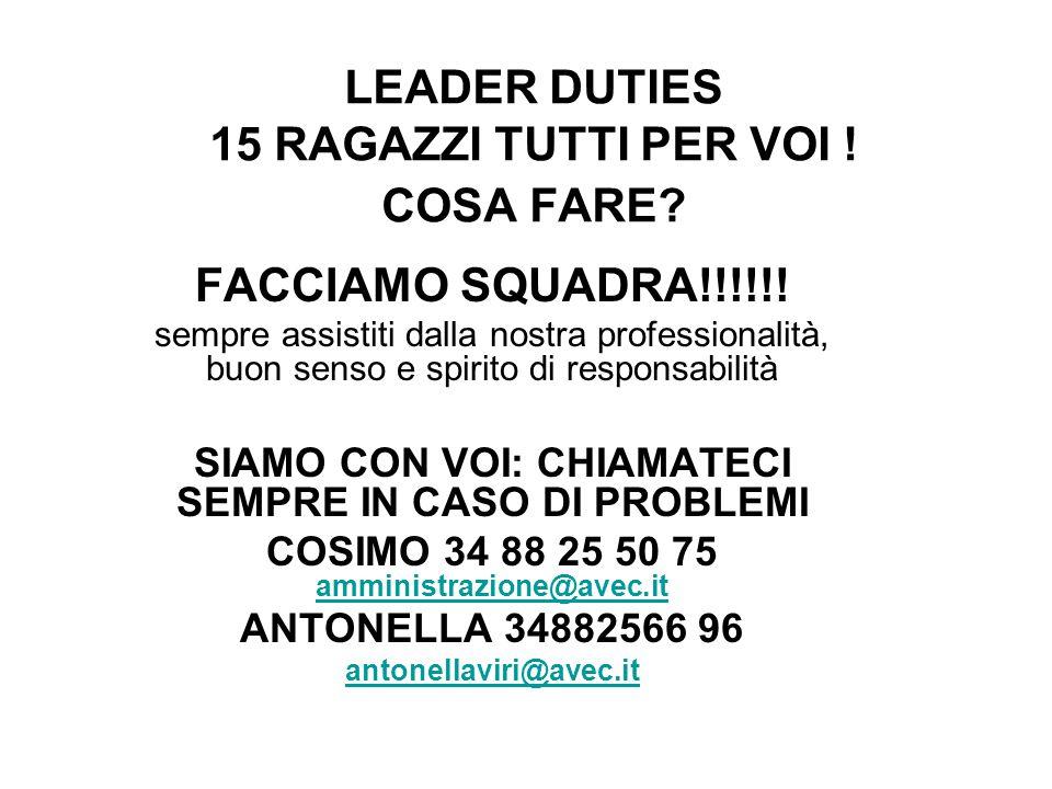 LEADER DUTIES 15 RAGAZZI TUTTI PER VOI ! COSA FARE? FACCIAMO SQUADRA!!!!!! sempre assistiti dalla nostra professionalità, buon senso e spirito di resp