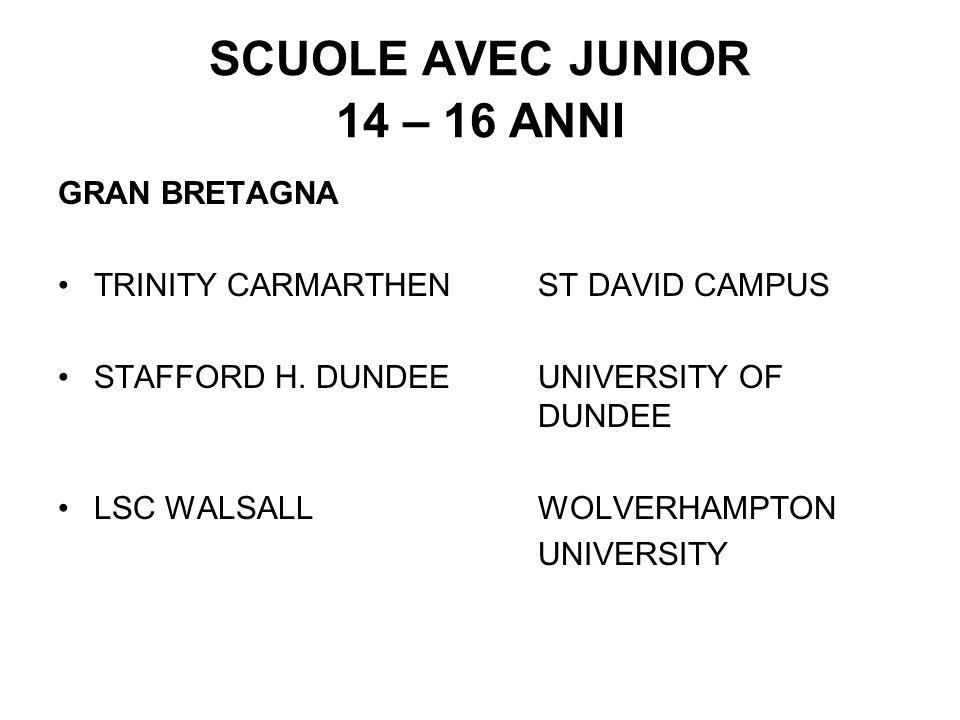 SCUOLE AVEC JUNIOR 14 – 16 ANNI GRAN BRETAGNA TRINITY CARMARTHENST DAVID CAMPUS STAFFORD H. DUNDEE UNIVERSITY OF DUNDEE LSC WALSALL WOLVERHAMPTON UNIV