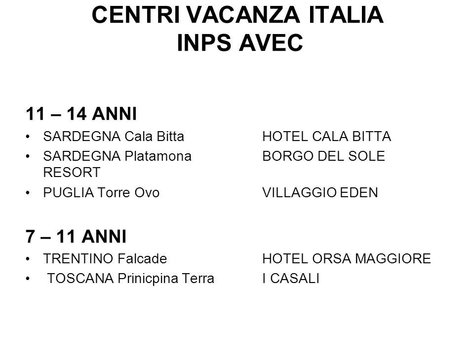 CENTRI VACANZA ITALIA INPS AVEC 11 – 14 ANNI SARDEGNA Cala Bitta HOTEL CALA BITTA SARDEGNA Platamona BORGO DEL SOLE RESORT PUGLIA Torre Ovo VILLAGGIO