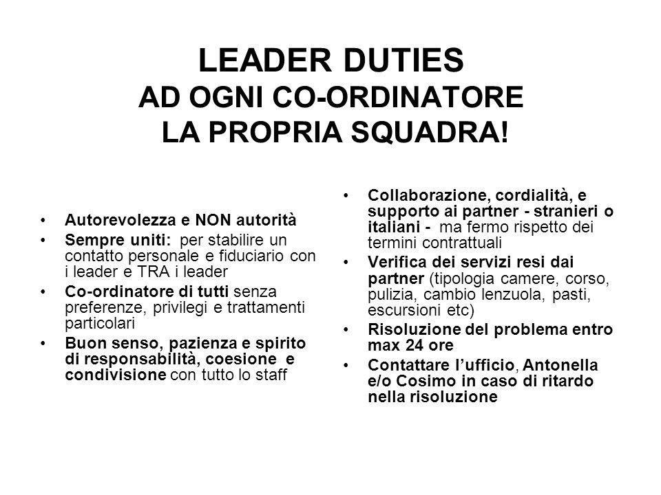 LEADER DUTIES AD OGNI CO-ORDINATORE LA PROPRIA SQUADRA! Autorevolezza e NON autorità Sempre uniti: per stabilire un contatto personale e fiduciario co