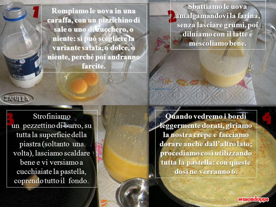 Rompiamo le uova in una caraffa, con un pizzichino di sale o uno di zucchero, o niente: si può scegliere la variante salata, o dolce, o niente, perché poi andranno farcite.