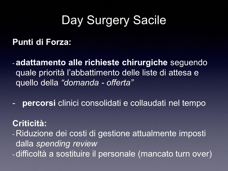 """Punti di Forza: - adattamento alle richieste chirurgiche seguendo quale priorità l'abbattimento delle liste di attesa e quello della """"domanda - offert"""