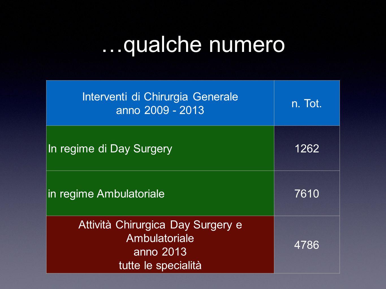 …qualche numero Interventi di Chirurgia Generale anno 2009 - 2013 n. Tot. In regime di Day Surgery1262 in regime Ambulatoriale7610 Attività Chirurgica