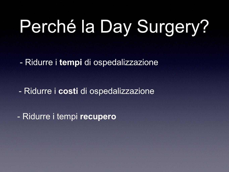 Perché la Day Surgery? - Ridurre i tempi di ospedalizzazione - Ridurre i tempi recupero - Ridurre i costi di ospedalizzazione