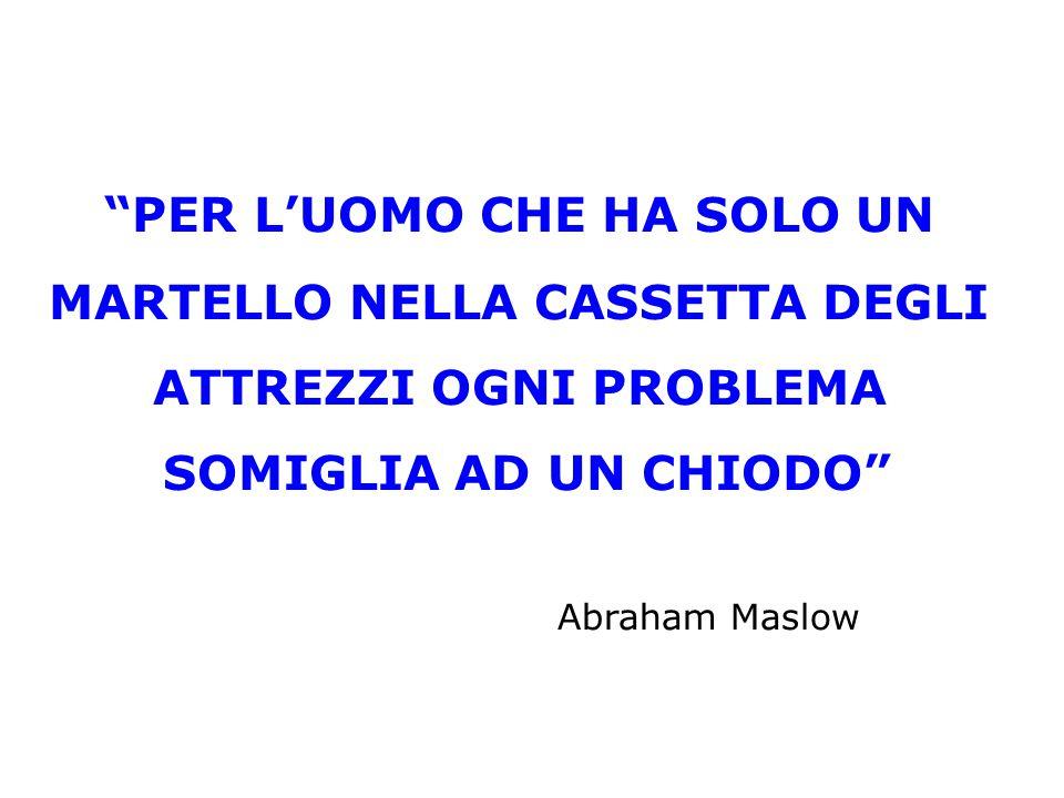 PER L'UOMO CHE HA SOLO UN MARTELLO NELLA CASSETTA DEGLI ATTREZZI OGNI PROBLEMA SOMIGLIA AD UN CHIODO Abraham Maslow