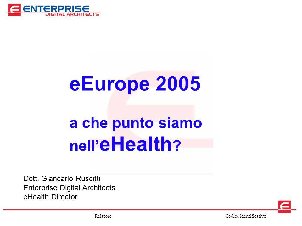 Codice identificativoRelatore eEurope 2005 a che punto siamo nell' eHealth ? Dott. Giancarlo Ruscitti Enterprise Digital Architects eHealth Director