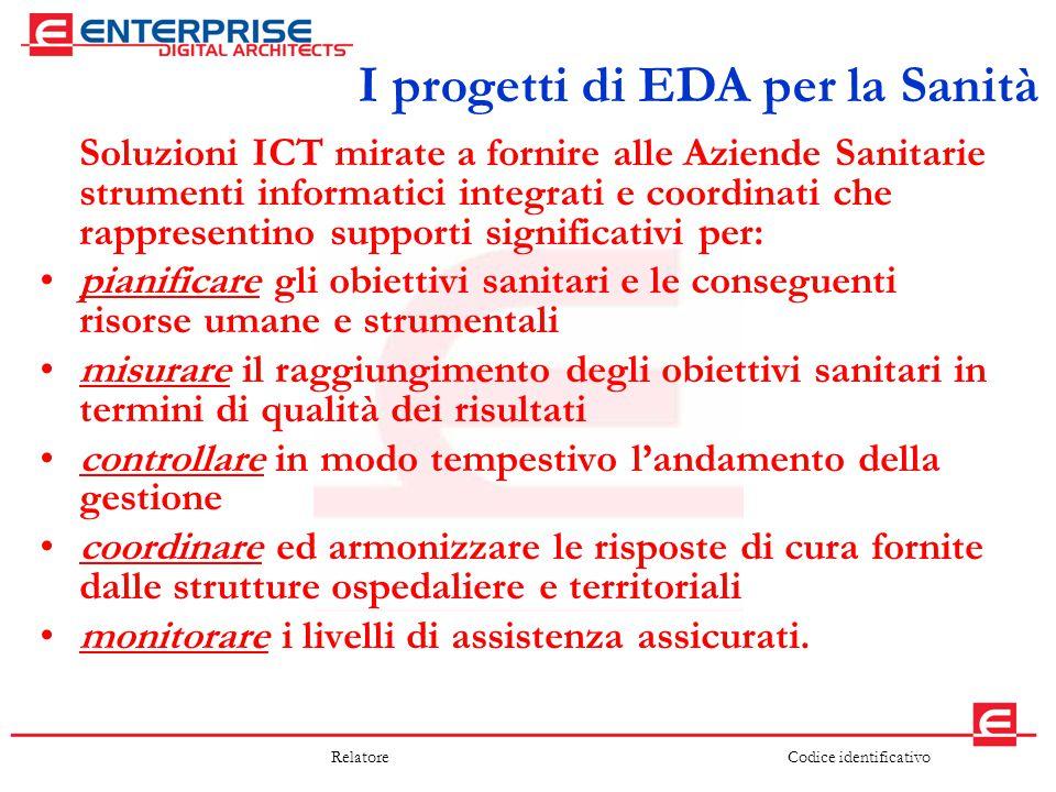 Codice identificativoRelatore I progetti di EDA per la Sanità Soluzioni ICT mirate a fornire alle Aziende Sanitarie strumenti informatici integrati e