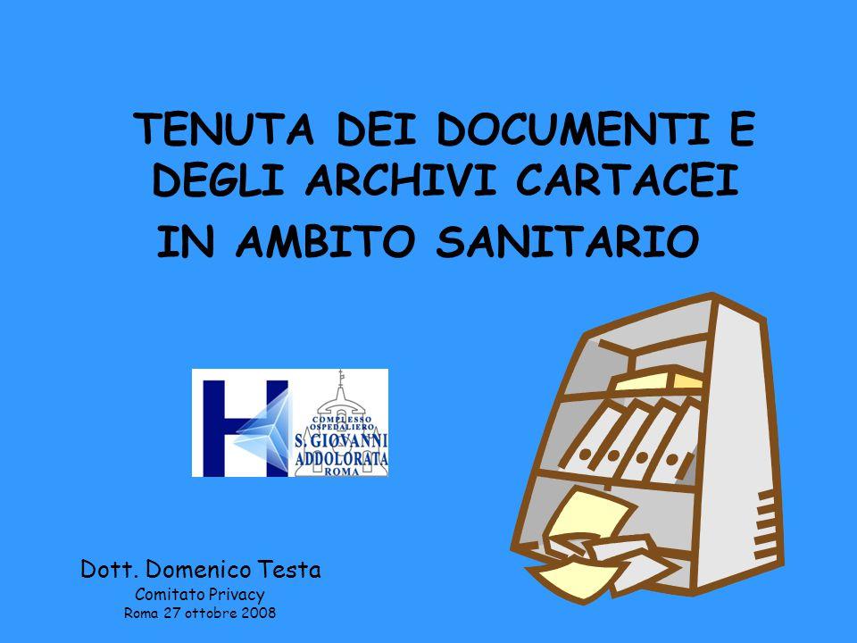 La sicurezza dei dati sanitari, oltre che attraverso l'impiego di strumenti elettronici, passa anche attraverso la corretta tenuta ed archiviazione della documentazione cartacea