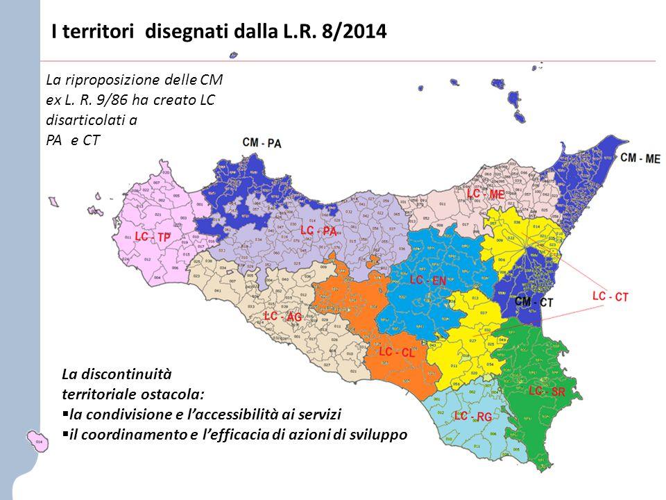 I territori disegnati dalla L.R. 8/2014 La riproposizione delle CM ex L.