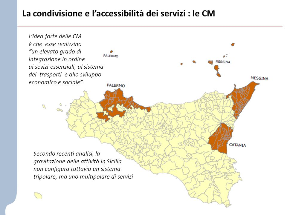 La condivisione e l'accessibilità dei servizi : le CM L'idea forte delle CM è che esse realizzino un elevato grado di integrazione in ordine ai sevizi essenziali, al sistema dei trasporti e allo sviluppo economico e sociale Secondo recenti analisi, la gravitazione delle attività in Sicilia non configura tuttavia un sistema tripolare, ma uno multipolare di servizi