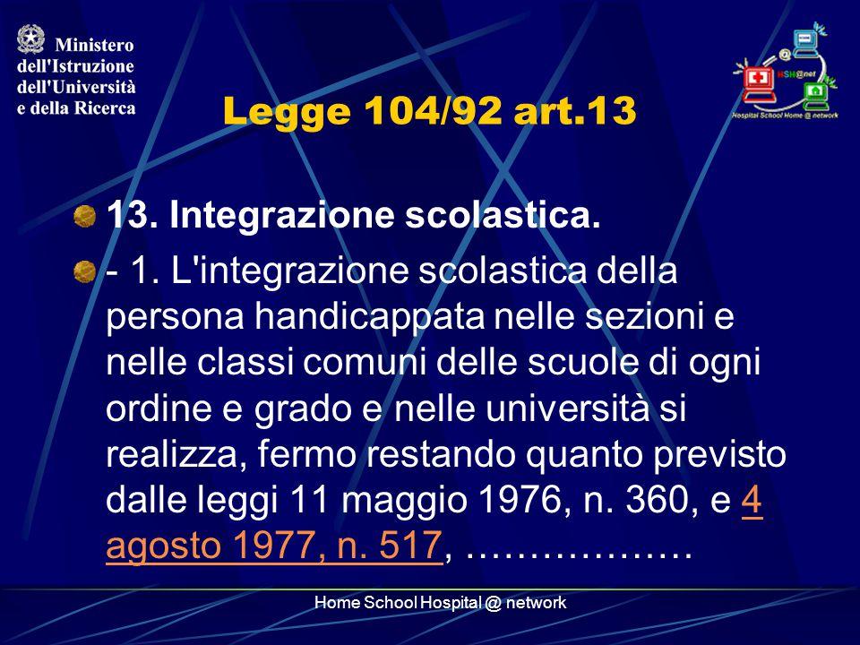 Home School Hospital @ network Legge 104/92 art.13 13.