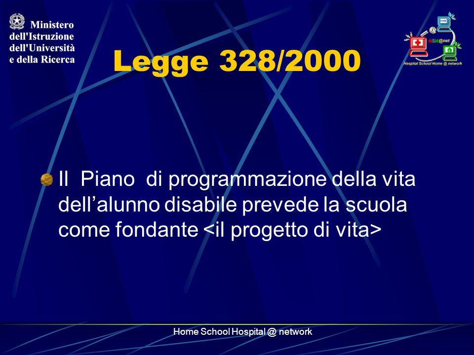 Home School Hospital @ network Legge 328/2000 Il Piano di programmazione della vita dell'alunno disabile prevede la scuola come fondante