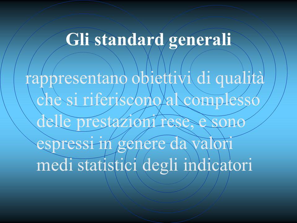 Gli standard generali rappresentano obiettivi di qualità che si riferiscono al complesso delle prestazioni rese, e sono espressi in genere da valori medi statistici degli indicatori