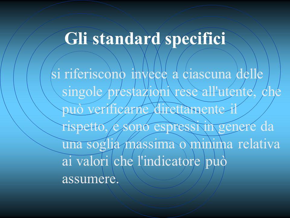 Gli standard specifici si riferiscono invece a ciascuna delle singole prestazioni rese all utente, che può verificarne direttamente il rispetto, e sono espressi in genere da una soglia massima o minima relativa ai valori che l indicatore può assumere.