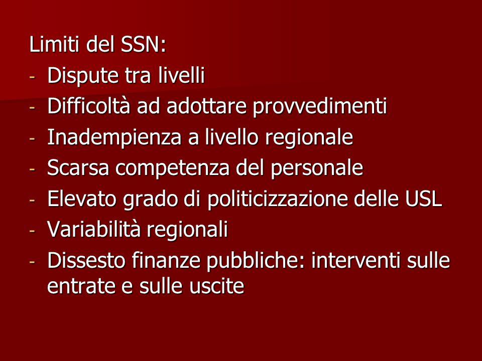 Limiti del SSN: - Dispute tra livelli - Difficoltà ad adottare provvedimenti - Inadempienza a livello regionale - Scarsa competenza del personale - El